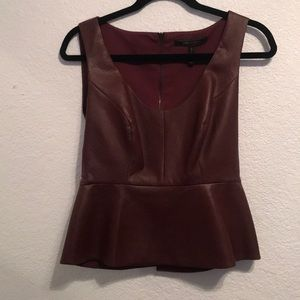 """BCBG size small """"leather"""" top"""